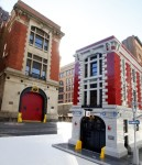 The LEGO Systems Ghostbusters Firehouse is photographed in front of the real FDNY firehouse used in the filming of the movie Ghostbusters, Tuesday, Oct. 6, 2015, in New York. (Jason DeCrow/AP Images for LEGO Systems)